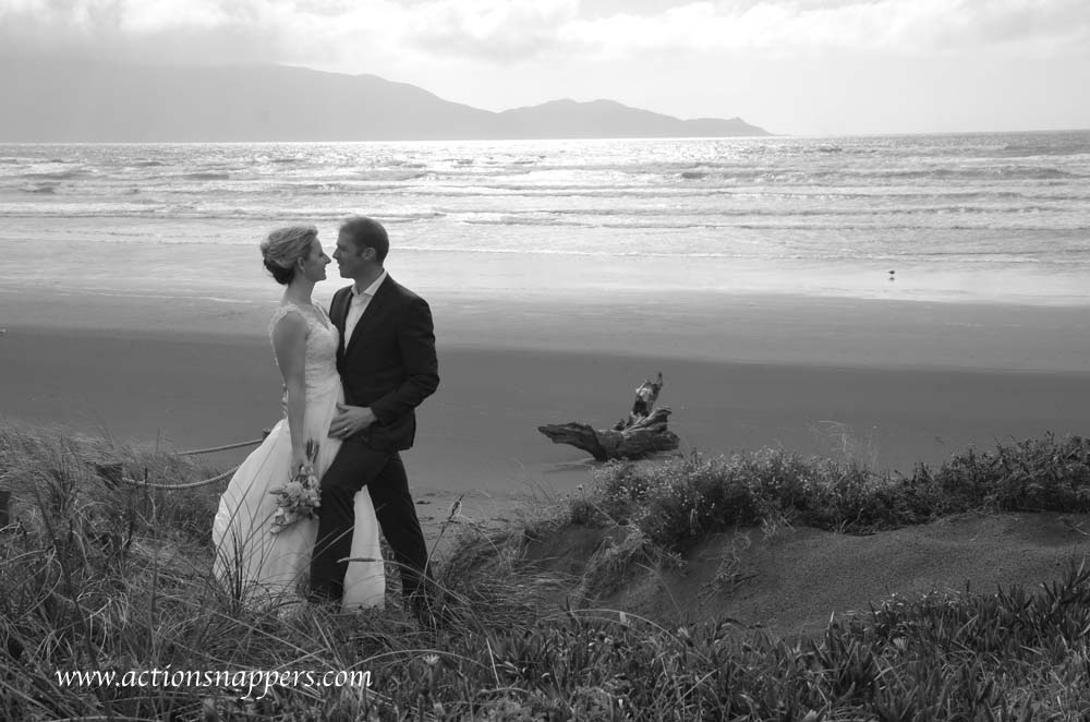 wedding photo at Waikenae beach by actionsnappers photographer