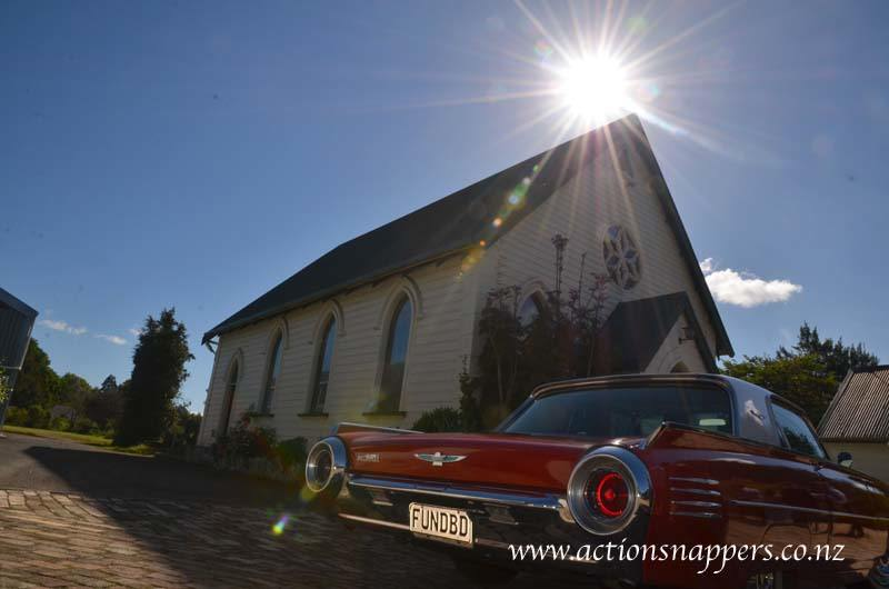 wedding photos at gails of tamahere. Classic car outside the church.