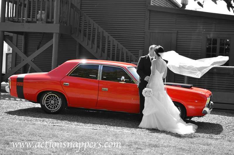 wedding car at red barn tirau.