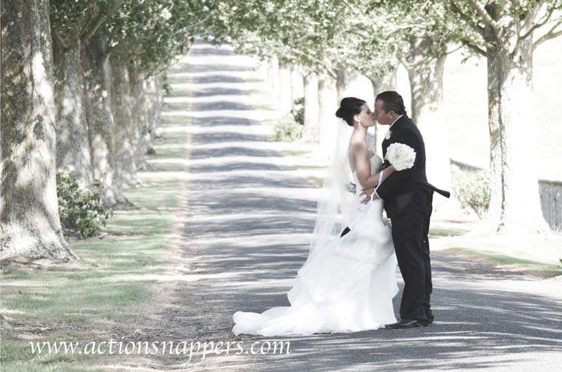 wedding photo of bride and groom kissing on tree lined street